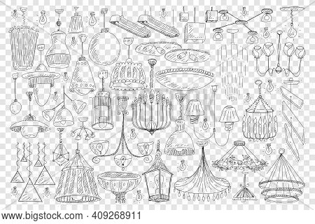 Chandeliers For Home Decoration Doodle Set. Collection Of Hand Drawn Elegant Chandeliers Light Equip