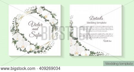Vector Template For Wedding Invitation. White Orchids, Eucalyptus, Green Plants And Leaves, Polygona