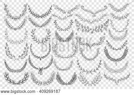 Natural Leaves Ornament Doodle Set. Collection Of Hand Drawn Elegant Natural Semicircle Patterns Wre