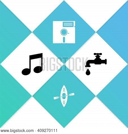 Set Music Note, Tone, Kayak And Paddle, Floppy Disk In The 5.25-inch And Water Tap Icon. Vector