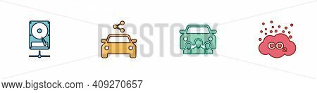 Set Hard Disk Drive On Sharing Network, Car, And Co2 Emissions Cloud Icon. Vector