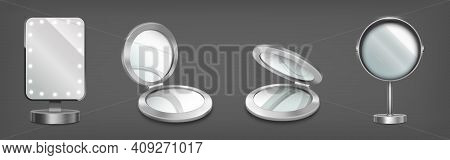 Makeup Mirrors On Stand And In Compact Circle Boxes. Vector Realistic Mockup Of 3d Vanity Table And