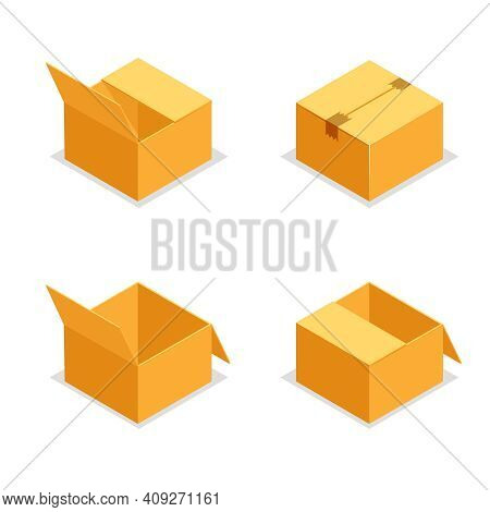 Cardboard Package Boxes Isometric Open Empty Pack Box Isolated Icons Set Design Vector Illustration