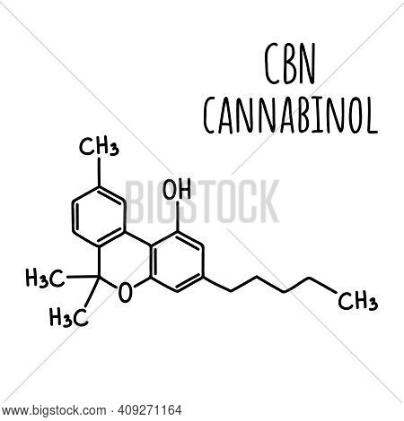 Molecular Structural Chemical Formula Of Cannabinol Cbn. Vector Hand Drawn Illustration.