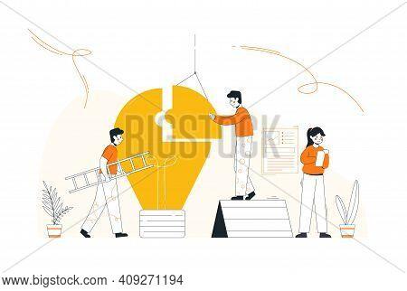 Flat Style Idea Brainstorming Creative Team Concept Web Infographic Vector Illustration. Creative Pe