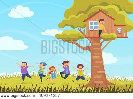 Happy Children Jumping, Tree House, Summer Meadow, Colorful Illustration Free Vector