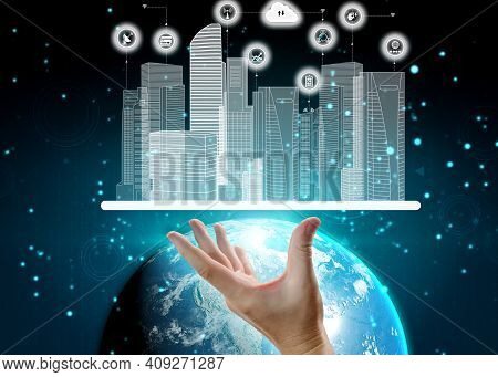 3d Illustration International Communication And Advanced Internet Network Connect In Smart City . Co