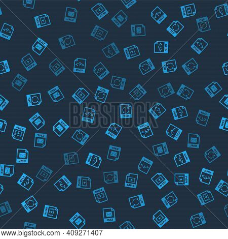 Set Mp4 File Document, Php, Gif And Eml On Seamless Pattern. Vector