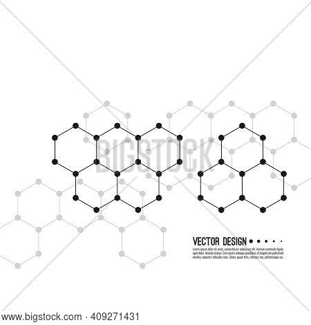Abstract Background Of Hexagonal Molecular Structure. The Concept Of Innovative Biotechnology Chemic