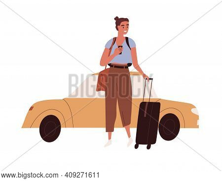 Happy Woman With Luggage Arrived At Airport By Taxi Car. Female Tourist With Suitcase And Mobile Pho