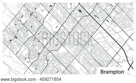 Map Of Brampton City, Ontario, Canada. Horizontal Background Map Poster Black And White Land, Street