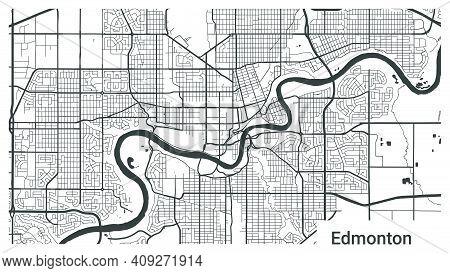 Map Of Edmonton City, Alberta, Canada. Horizontal Background Map Poster Black And White Land, Street