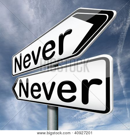 never again there will be no more way a next time all excluded not ever certainly no chance at all poster