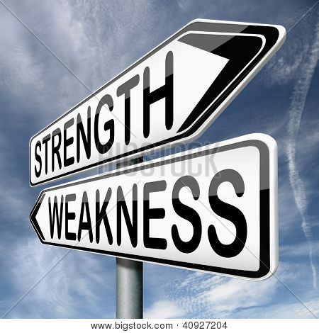 strength or weakness overcome fragility strong or weak road sign signpost