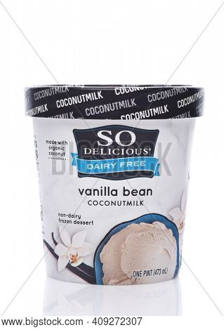 IRVINE, CALIFORNIA - 26 APRIL 2020:  A Carton of So Delicious Vanilla Bean Coconut Milk Non-Dairy Frozen Dessert.