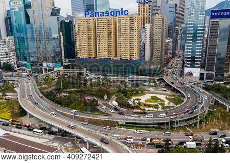 Causeway Bay, Hong Kong 07 January 2021: Top down view of Hong Kong city traffic