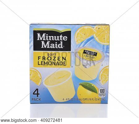 IRVINE, CA - SEPTEMBER 22, 2017: Minute Maid Soft Frozen Lemonade Cups. Minute Maid is a registered trademark of the Coca-Cola Company.