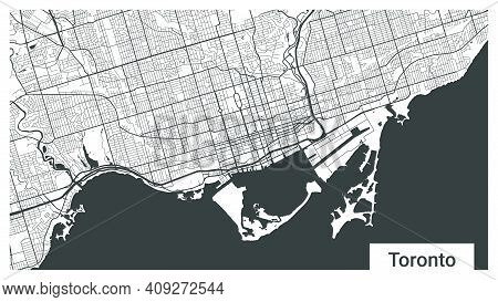 Map Of Toronto City, Ontario, Canada. Horizontal Background Map Poster Black And White Land, Streets