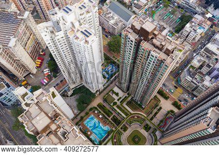 Yuen Long, Hong Kong 18 October 2020: Drone fly over Hong Kong city