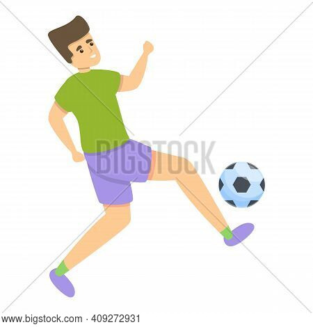 Kid Hit Ball Soccer Icon. Cartoon Of Kid Hit Ball Soccer Vector Icon For Web Design Isolated On Whit