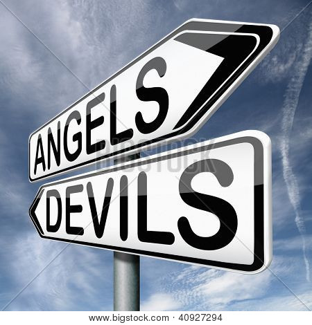 angels and devils choice between heaven and hell road sign arrow with text