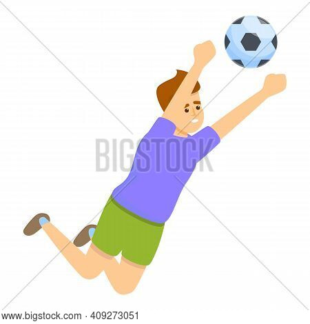Kid Catch Soccer Ball Icon. Cartoon Of Kid Catch Soccer Ball Vector Icon For Web Design Isolated On