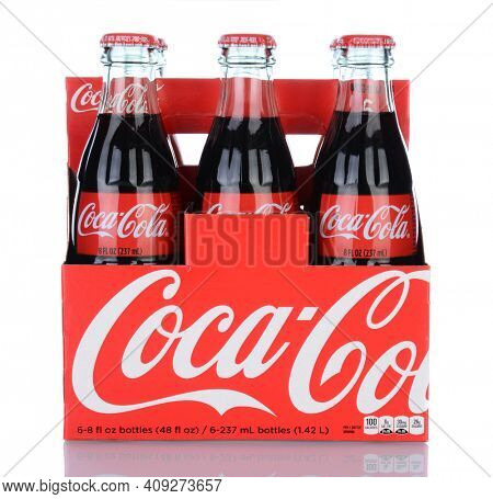 IRVINE, CA - January 29, 2014: A 6pk of Coca-Cola Classic Bottles. Coca-Cola is the one of the worlds favorite carbonated beverages.