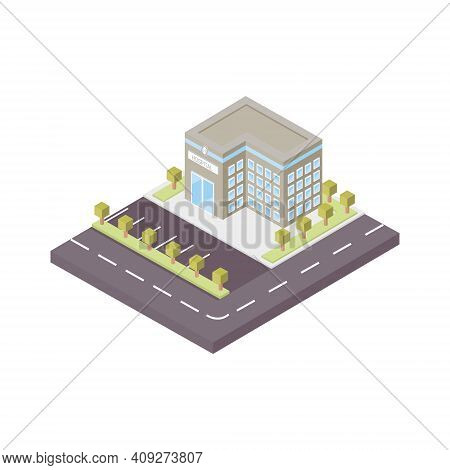 3d Vector Illustration Of The Volume. Hospital Building With Large Windows, Parking And Road Marking
