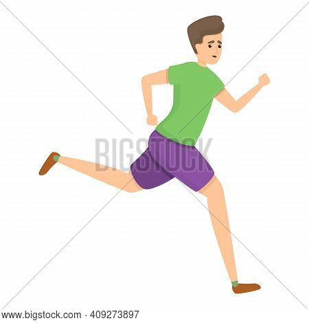 Boy Running Icon. Cartoon Of Boy Running Vector Icon For Web Design Isolated On White Background