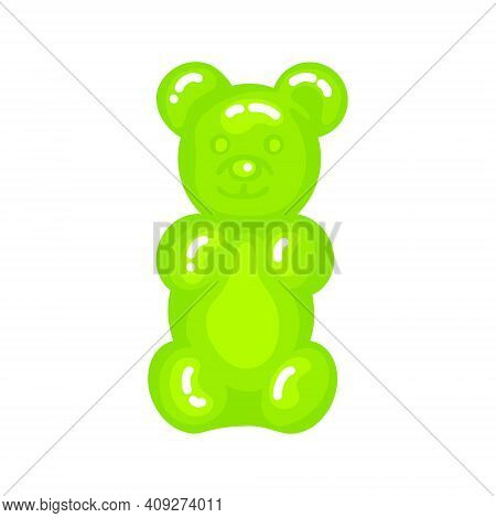 Green Gummy Bear Jelly Sweet Candy With Amazing Flavor Flat Style Design Vector Illustration. Bright