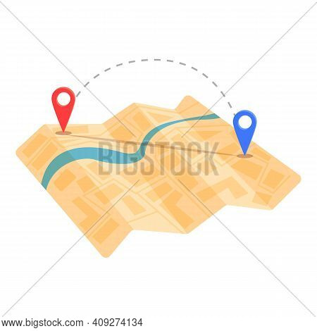 Cartography Itinerary Icon. Cartoon Of Cartography Itinerary Vector Icon For Web Design Isolated On