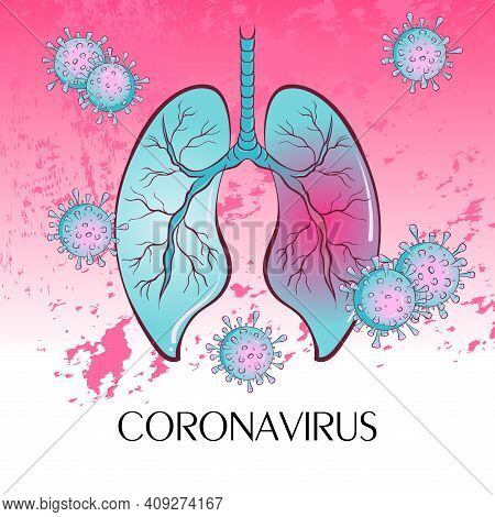 Pandemic Medical Concept With Dangerous Cells. The Virus Enters The Human Lungs. Vector Illustration