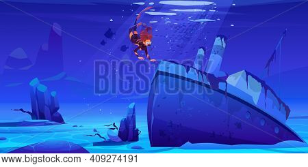 Scuba Diver Explore Sunken Ship On Sea Bottom. Woman Floating Above Wreck Steamboat Vessel With Pipe