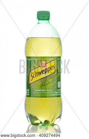 IRVINE, CALIFORNIA - MAY 23, 2019:  A 1 liter plastic bottle of Schweppes Ginger Ale.