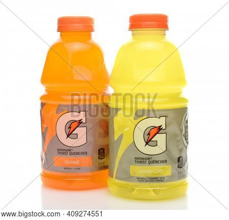 IRVINE, CA - SEPTEMBER 22, 2014: Two bottles of Gatorade Thirst Quencher. The beverage was first developed in 1965 by a team of researchers at University of Florida.