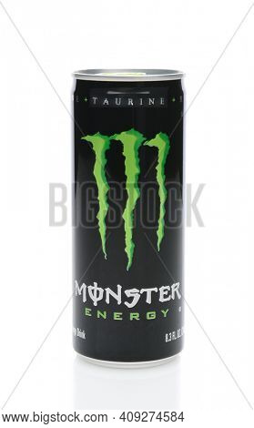IRVINE, CA - SEPTEMBER 22, 2014: A can of Monster Energy Drink. Introduced in 2002 Monster now has over 30 different drinks with high a caffeine content.
