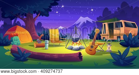 Summer Camp At Night Time. Rv Caravan Motorhome Car Stand At Campfire With Tent, Log, Cauldron And G