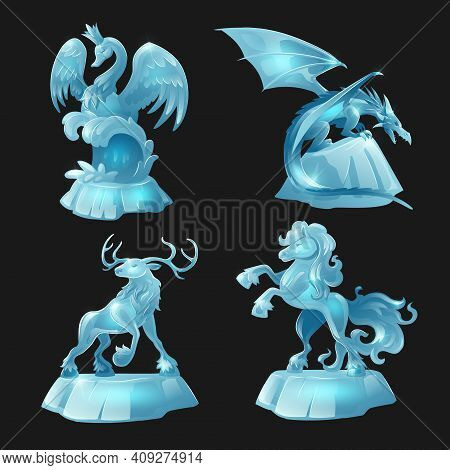 Ice Sculptures Of Horse, Dragon, Swan And Deer Isolated On Black Background. Vector Cartoon Set Of A