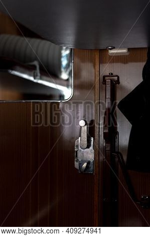 Door And Doorknob In A Train Compartment. Travel By Train.
