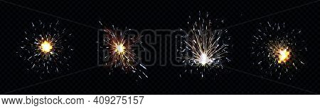 Fire Sparks From Metal Welding, Iron Cutting Or Sparklers Isolated On Transparent Background. Vector