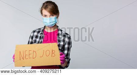 The Concept Of The Need To Find A Job In A Critical Period Of A Pandemic. Young Housemaid With Mask