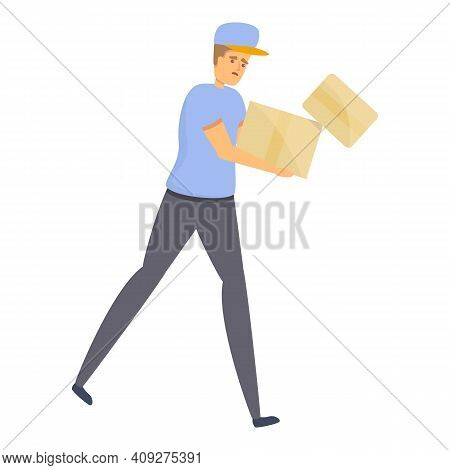 Careless Postman Icon. Cartoon Of Careless Postman Vector Icon For Web Design Isolated On White Back