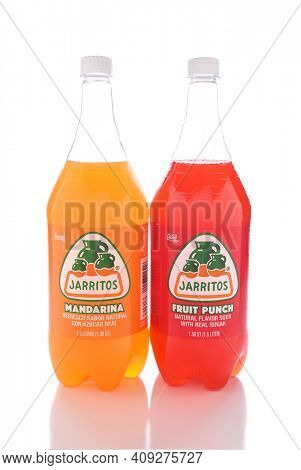 IRVINE, CALIFORNIA - JANUARY 13, 2017: Jarritos Fruit Punch and Mandarina drinks. Jarritos is made in fruit flavors and is more carbonated than popular soft drinks made in the USA.