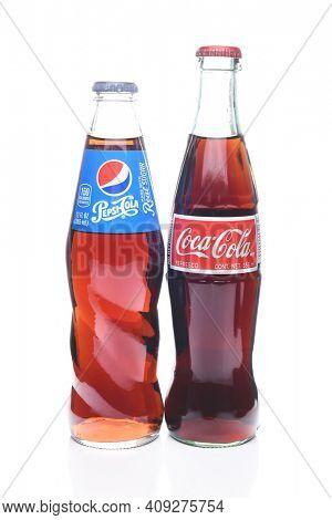 IRVINE, CALIFORNIA - FEBRUARY 7, 2017: Pepsi-Cola and Coca-Cola Bottle. Coke and Pepsi are the top Cola producers in the USA.