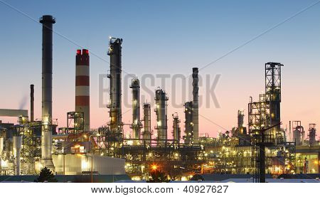 Oil refinery at twilight - factory tube poster