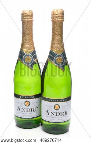 IRVINE, CA - JANUARY 8, 2018: Two Bottles of Andre California Champagne. Andre is a division of the E J Gallo Winery.