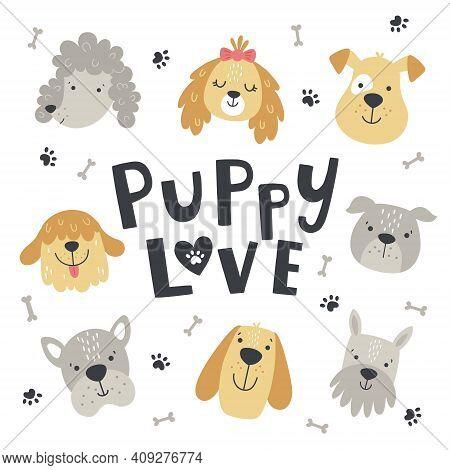 Puppy Love Cute Set Of Dog Heads