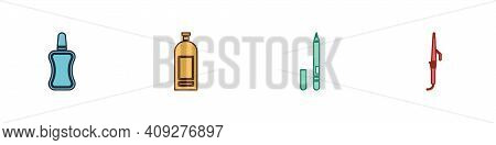 Set Nail Polish Bottle, Bottle Of Shampoo, Eyeliner, Eyebrow And Curling Iron Icon. Vector