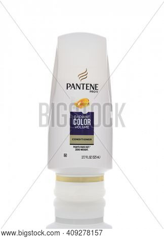 IRVINE, CALIFORNIA - AUGUST 30, 2018: Pantene Pro-V Conditioner. A bottle of Radian Color Volume hair care product.