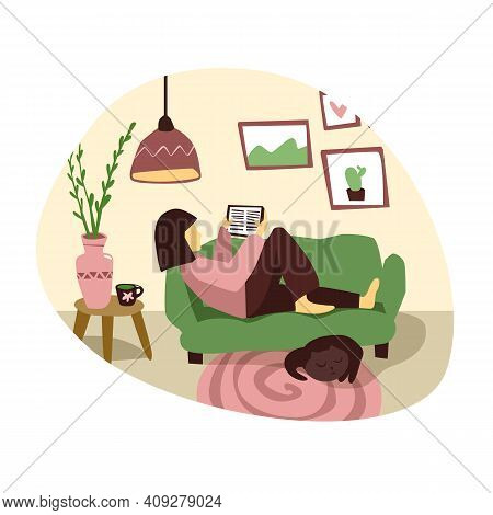 Young Woman Is Reading E-book In Living Room. Flat Illustration. Girl At Home With Book. Female Sit